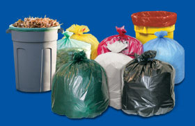 Photo of STOUT® can liners, biohazard bags and seal closure bags